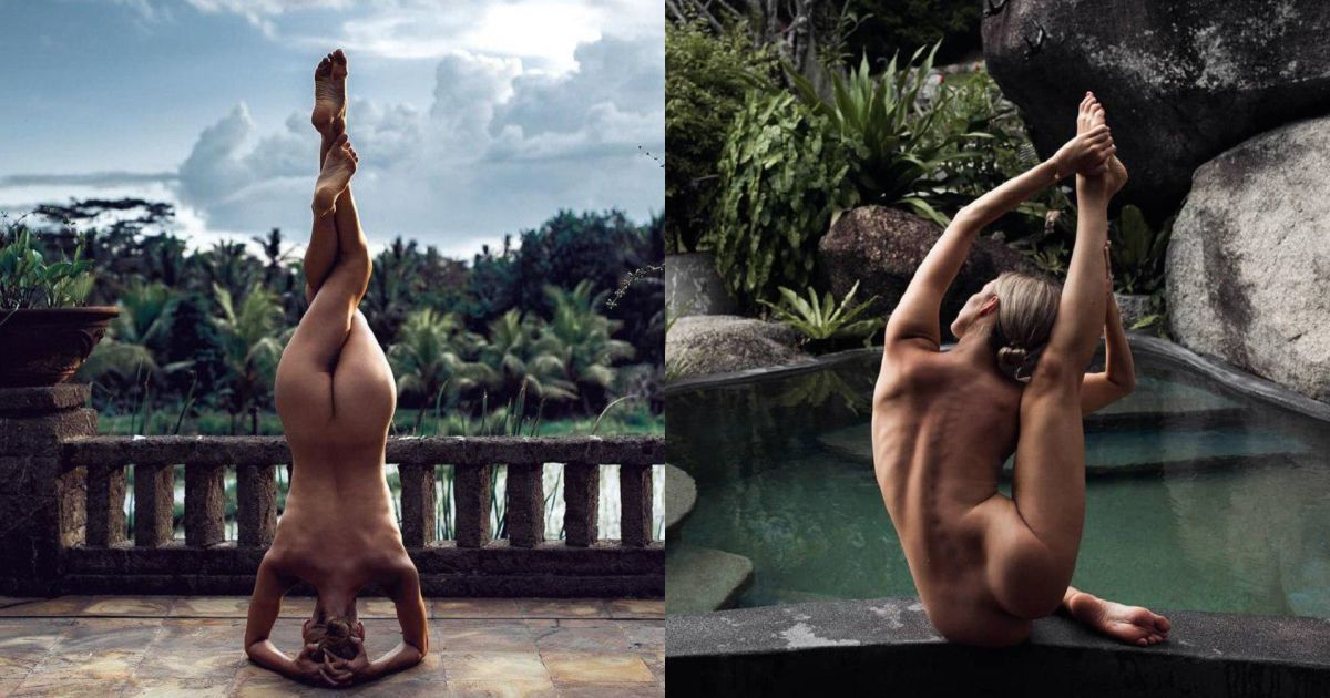 Йога-позы голышом на фоне заснеженных лесов и пляжей. Изящные фото загадочной модели в Instagram