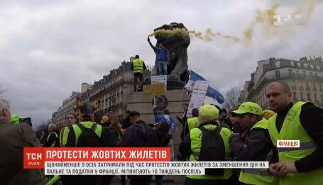 """Знову мітинги: щонайменше 9 осіб затримали у Парижі під час протесту """"жовтих жилетів"""""""