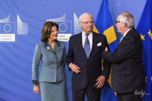 Как всегда, элегантна: 75-летняя королева Сильвия с супругом-королем прибыли в Брюссель