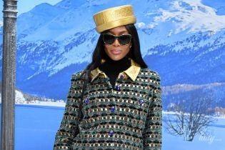 Вся в золоте: эффектная Наоми Кэмпбелл приехала посмотреть на последнюю коллекцию Лагерфельда для Chanel