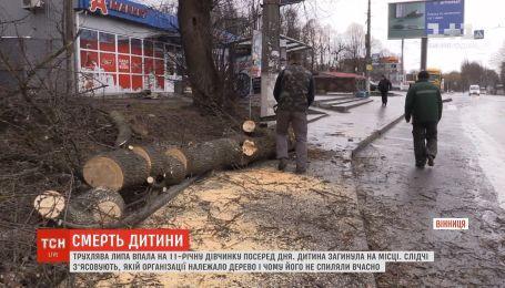 На 11-річну дівчинку у Вінниці впало дерево, дитина загинула