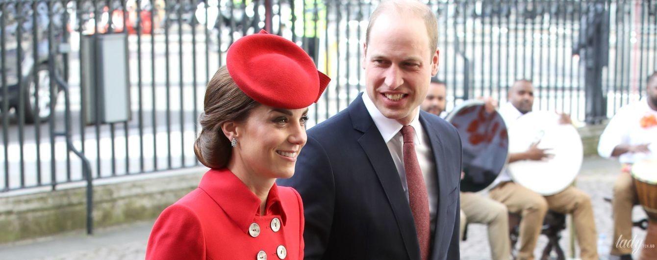 Такая яркая: герцогиня Кембриджская с принцем Уильямом прибыли на службу в Вестминстерское аббатство