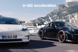 Затяту драг-гонку Tesla Model 3 та Porsche 911 зняли на відео