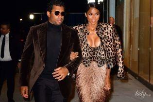 В леопарде с эффектным декольте: певица Сиара с мужем сходили на вечеринку