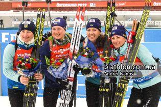 Збірна України виборола медаль у жіночій естафеті на Чемпіонаті світу з біатлону