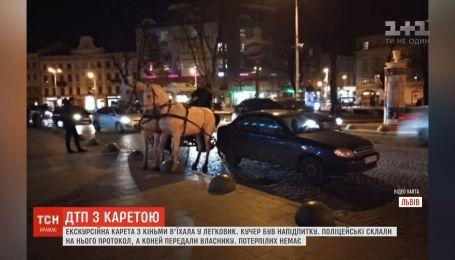 Экскурсионная карета с лошадьми въехала в легковушку во Львове