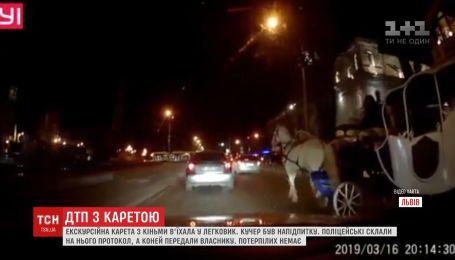 Авария при участии кареты с лошадьми и легковушки случилась во Львове