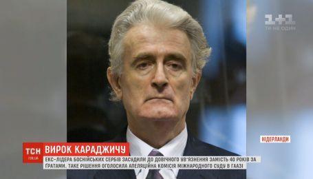 Екс-лідера боснійських сербів засудили до довічного ув'язнення замість 40 років за ґратами
