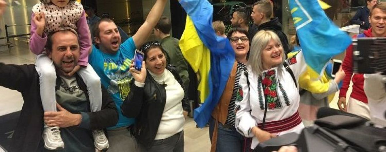 Сборную Украины патриотично встретили в Португалии