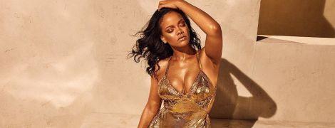 В золотом мини-платье и с мерцающей кожей: Рианна сексуально рекламирует свою бьюти-продукцию