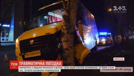 В Николаеве маршрутка с людьми врезалась в дерево