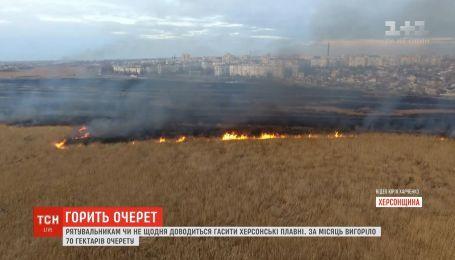 Сразу два пожара случились в херсонских плавнях