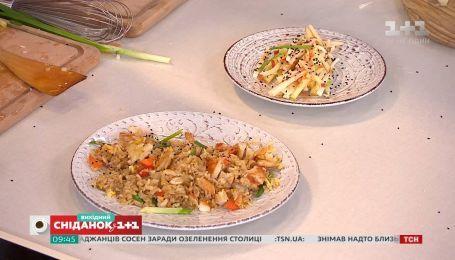 Евгений Клопоптенко и Богдан Юсипчук приготовили жареный рис с овощами и супервитаминный салат
