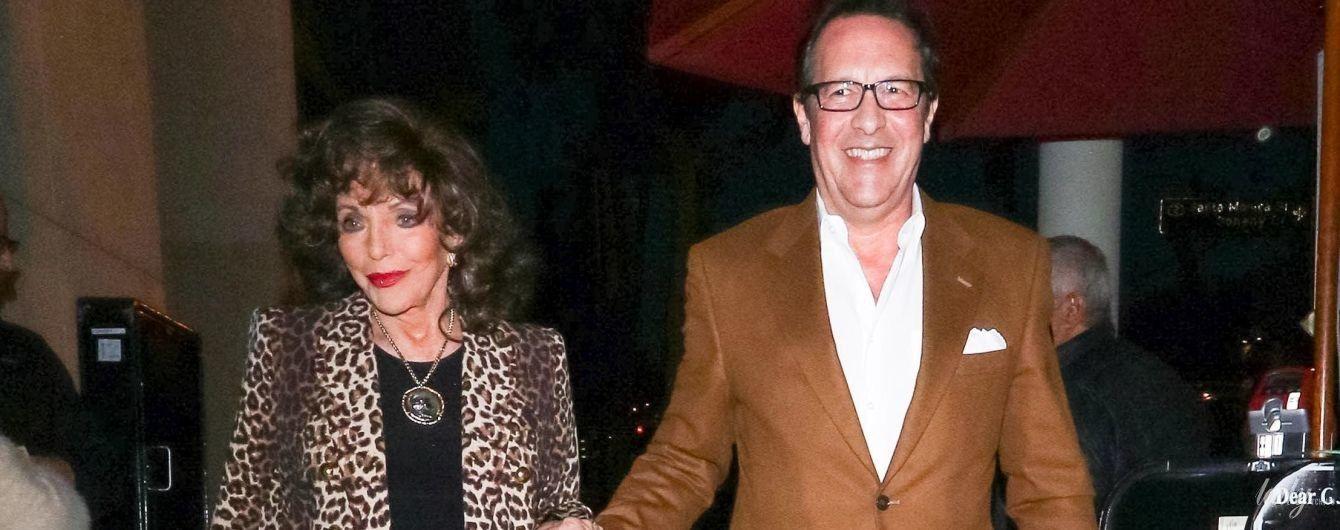 В леопардовом жакете и с мужем за руку: 85-летняя Джоан Коллинз в Лос-Анджелесе