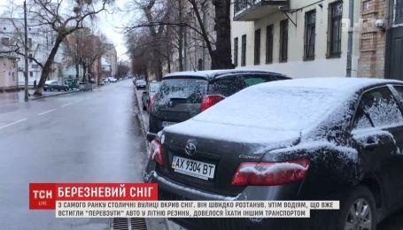 Київ з самого ранку накрив березневий сніг