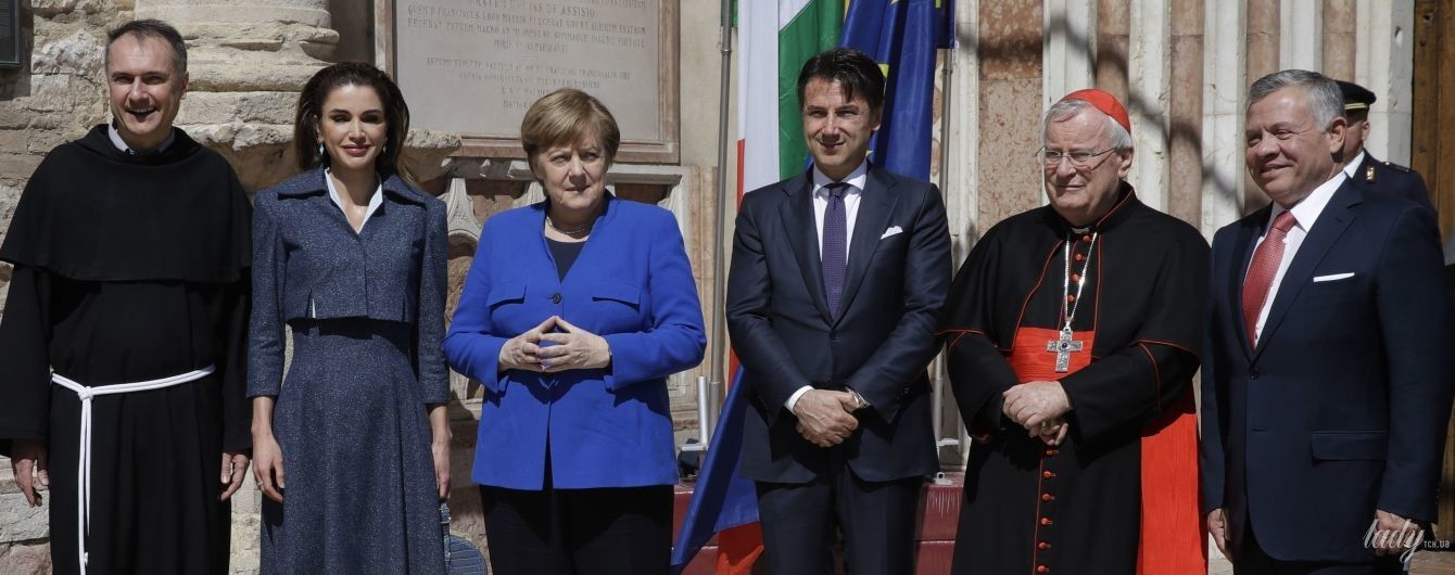 В елегантному костюмі та з крокодилячою сумкою: королева Ранія підтримала чоловіка-короля на заході в Італії