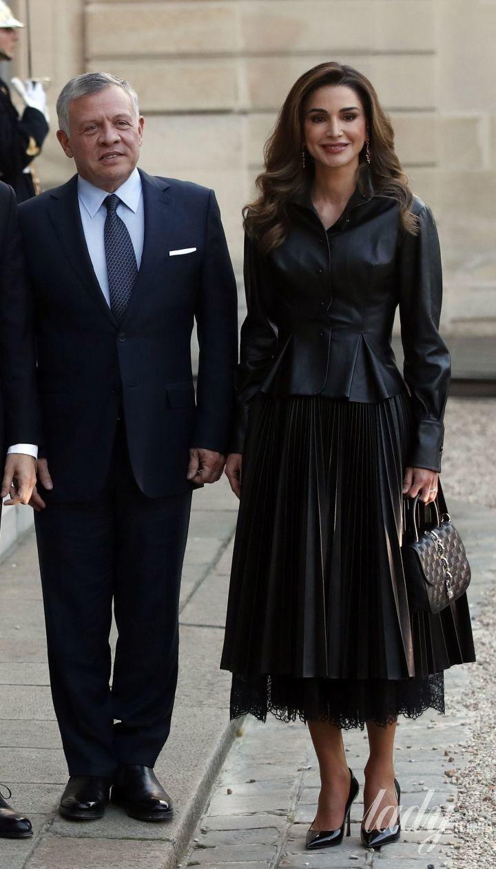 Королева Рания, король Абдалла II, президент Франции Эммануэль Макрон и первая леди Брижит Макрон