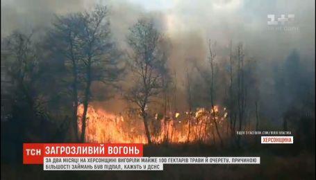 За два месяца на Херсонщине выгорело почти 100 гектаров травы и камыша