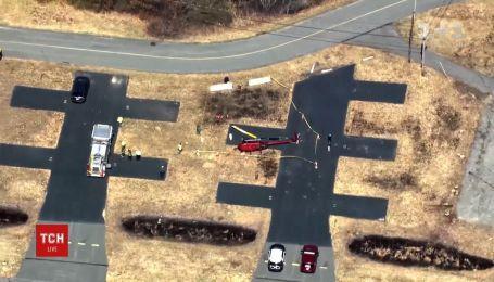 Ветер перевернул вертолет в американском штате Массачусетс
