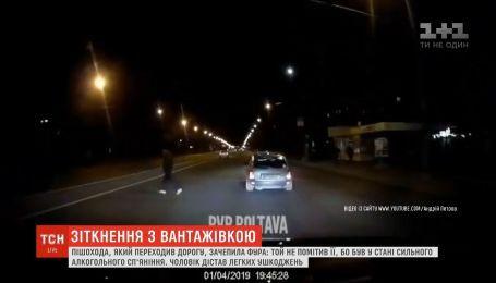 В Полтаве прохожий чудом выжил после опасного столкновения с грузовиком