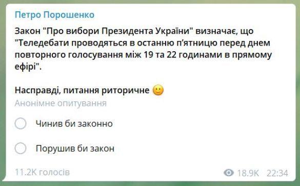 Опитування у телеграмі Порошенка