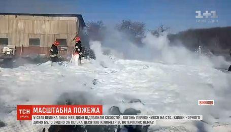 Масштабна пожежа сталась поблизу Вінниці