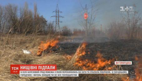 Палії сухостою майже дотла спалили два будинки на Житомирщині