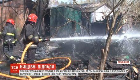 На Житомирщині внаслідок паління сухої трави згоріли дві хати