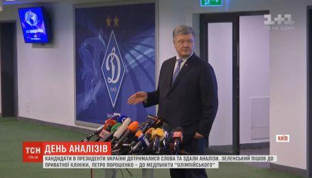 Украинцы следили, как Порошенко и Зеленский сдавали анализы