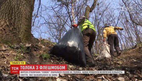 Кияни влаштували толоку-флешмоб, аби прибрати величезну кількість сміття після зими