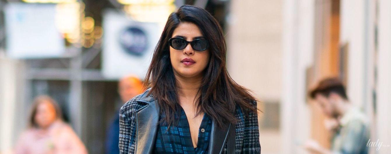 В клетчатом пальто и ботинках Celine: стильная Приянка Чопра на улицах Нью-Йорка