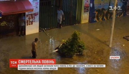 Сильні зливи підтопили вулиці Ріо-де-Жанейро