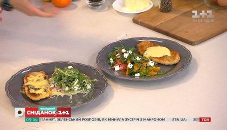 Севастьян Фагэ приготовил шницель с соусом Голландез и салат с цитрусовыми и сыром фета