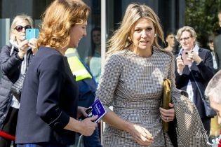 В новом платье и горчичных лодочках: королева Максима на мероприятии в Дорне