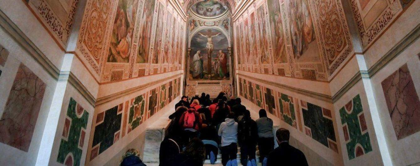 В Риме впервые за 300 лет открыли Святую лестницу. Видео