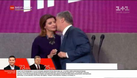 Во время выступлений оба кандидата поблагодарили за поддержку своим женам