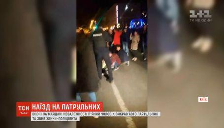 В столице мужчина похитил патрульный автомобиль и сбил полицейскую