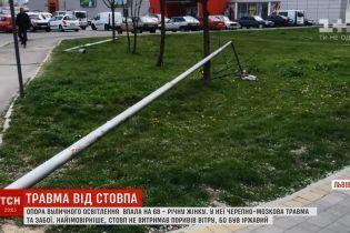 У Львові вуличний ліхтар завалився на жінку
