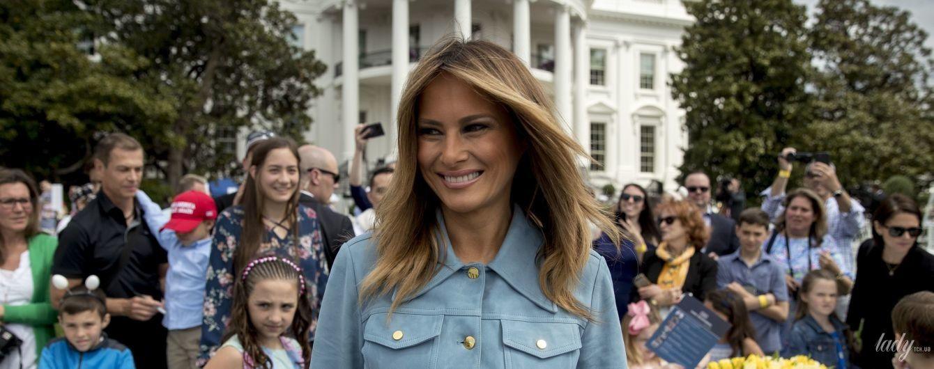 В голубом платье и без каблуков: Мелания Трамп на пасхальном празднике в Белом доме