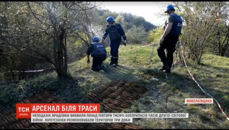 На Миколаївщині неподалік траси виявили арсенал боєприпасів