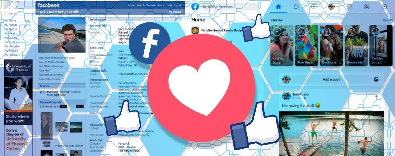 До та після: як змінювався дизайн Facebook впродовж 15 років