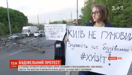 Столичные активисты протестуют против застройки в Протасовом Яру