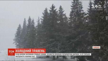 В горной местности Румынии выпал снег