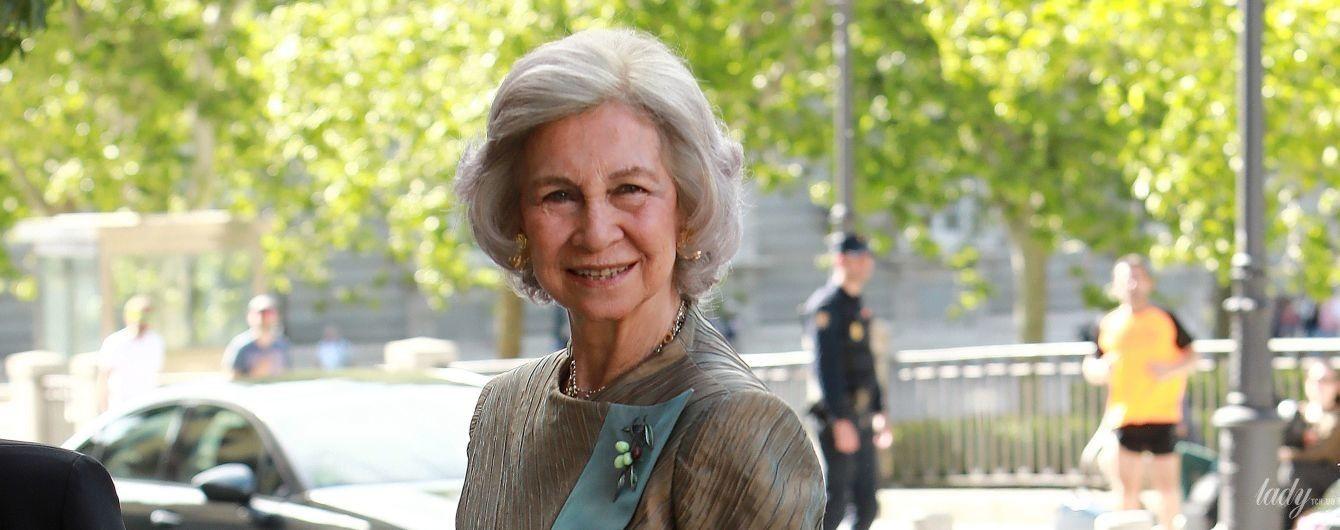 В оттенке бронзы: 80-летняя королева София сходила на светское мероприятие