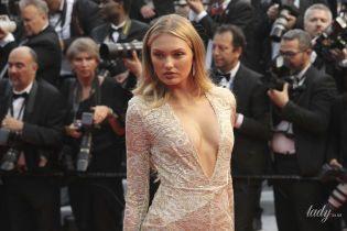 """Сексуальний """"ангел"""": Ромі Стридж у мереживній сукні з відвертим декольте позувала в Каннах"""
