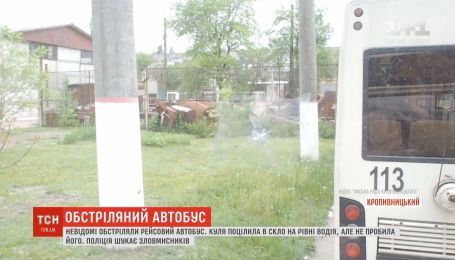 В Кропивницькому з невідомої зброї обстріляли великогабаритний рейсовий автобус
