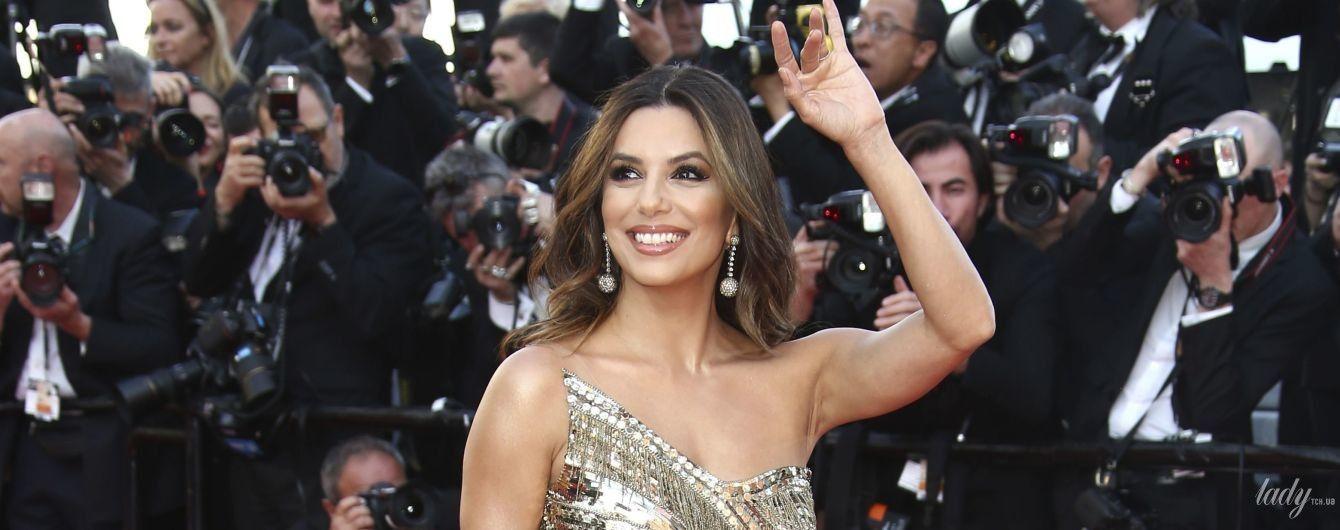 Вся в золоті: Єва Лонгорія в красивому вбранні сяє в Каннах