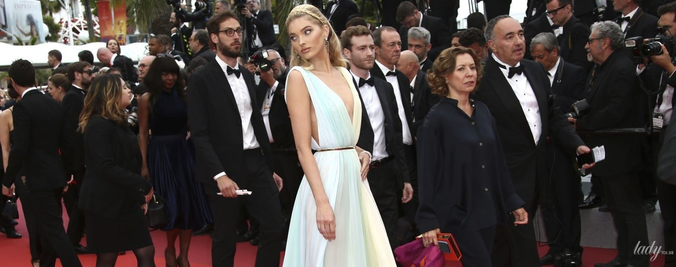 Дуже ніжний образ: Ельза Госк в струмливій сукні блищала на доріжці в Каннах