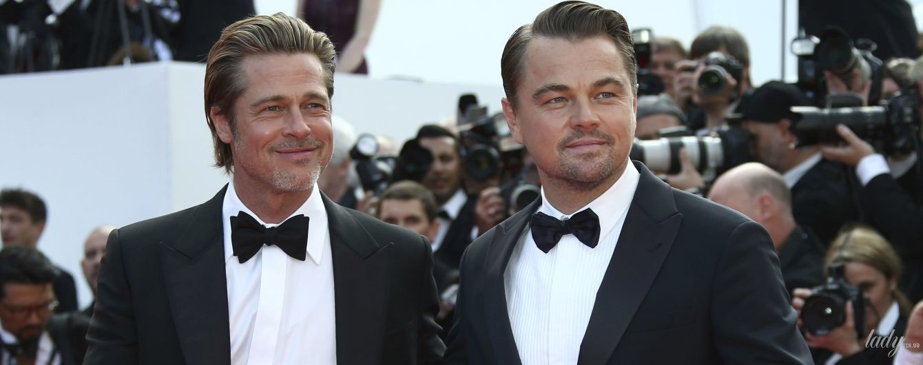 """В черных костюмах и бабочках: Брэд Питт и Леонардо Ди Каприо на премьере фильма """"Однажды в Голливуде"""" в Каннах"""