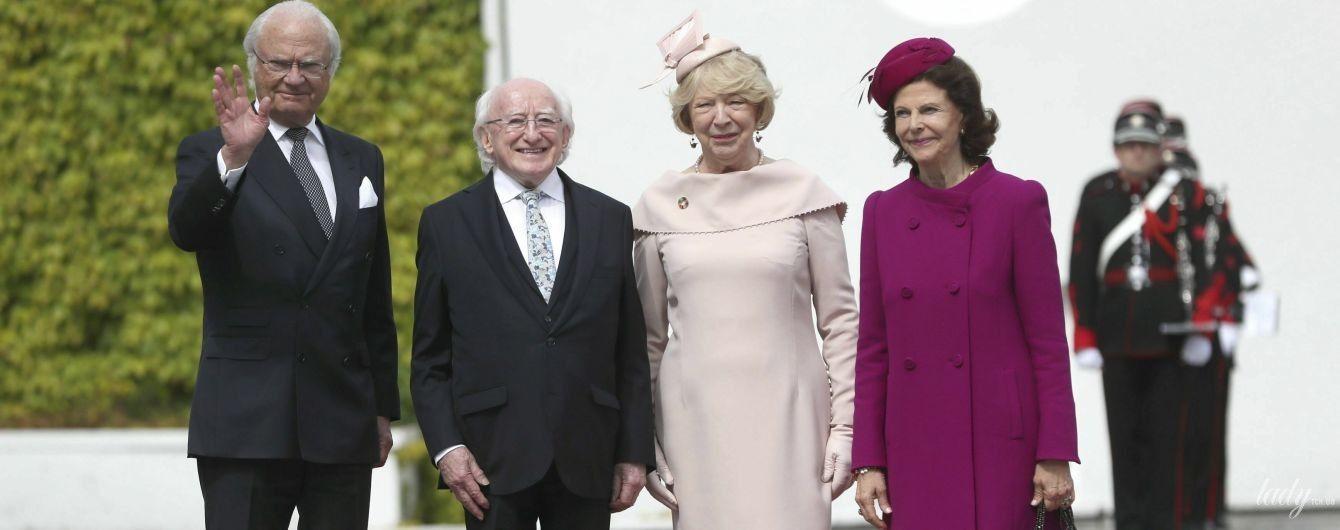 В красивом винном пальто: королева Сильвия затмила первую леди Ирландии на официальном приеме